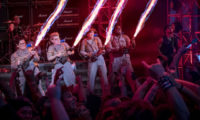 The Ghostbusters Abby (Melissa McCarthy)  Holtzmann (Kate McKinnon), Erin (Kristen Wiig) and Patty (Leslie Jones) in Columbia Pictures' GHOSTBUSTERS.